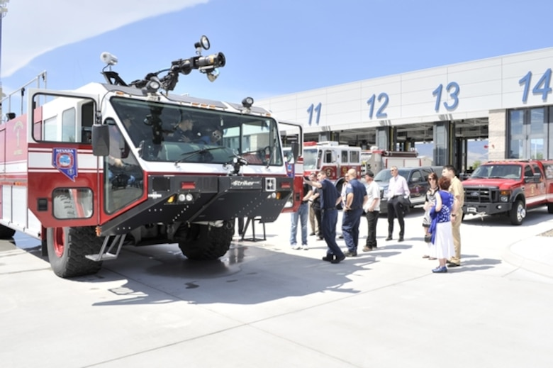 Representatives from various organizations view firefighting equipment at the Nevada Air Guard base in Reno on May 15 during the 2013 Nevada ESGR Employer Recognition Event. The event recognized the extraordinary reserve-component military support of more than 40 Nevada public and private organizations.  NV ANG Photo by Senior Airman Ashif Halim (released).