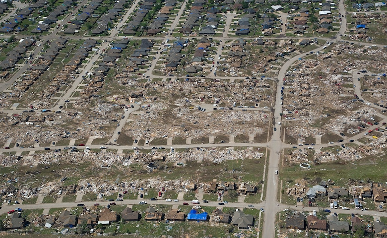 The path of a recent tornado in Moore, Okla., May 22, 2013. A tornado categorized as an EF5, the strongest category possible, with winds ranging from 200 to 210 mph struck Moore on May 20, 2013. The Oklahoma Office of the Chief Medical Examiner reports 24 fatalities related to Monday's storms. (U.S. Air Force photo by Tech. Sgt. Bradley C. Church)