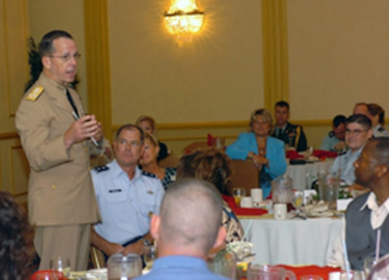 Adm. Michael G. Mullen, Chairman of the Joint Chiefs of Staff, addresses attendees at the Virginia National Guard Recognition Workshop Aug. 23-24 in Wiliamsburg.