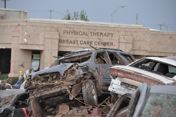 The Moore Medical Center stands in ruin after an EF-5 tornado ripped through Moore Okla., Monday May 20, 2013.  The medical center was full of hospital staffers and patients.  Only minor injuries were sustained when everyone survived.  (U.S. Air Force photo by Maj. Jon Quinlan)