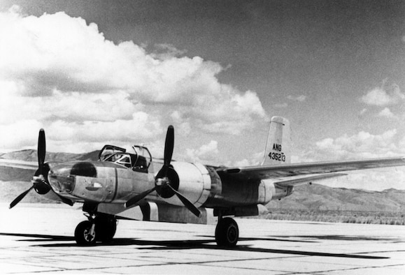 This Douglas A-26C-30-DT Invader, serial number 44-35213, was one of several examples of the type assigned to the Oregon Air National Guard (OreANG) in the late 1940's.  It was similar to the OreANG A-26B-40-DL, serial number 41-39526, lost on April 9, 1948.  The A-26 bombers (designated B-26 in June, 1948) were used by the OreANG in a utility role.  For example, this A-26C, possibly pictured at Gowen Field, Idaho during OreANG summer training in 1950, towed aerial targets for the 142d Fighter Group's P-51D Mustang fighter pilots to practice their aerial gunnery skills on.  (Image from the 142nd Fighter Wing History Archives)