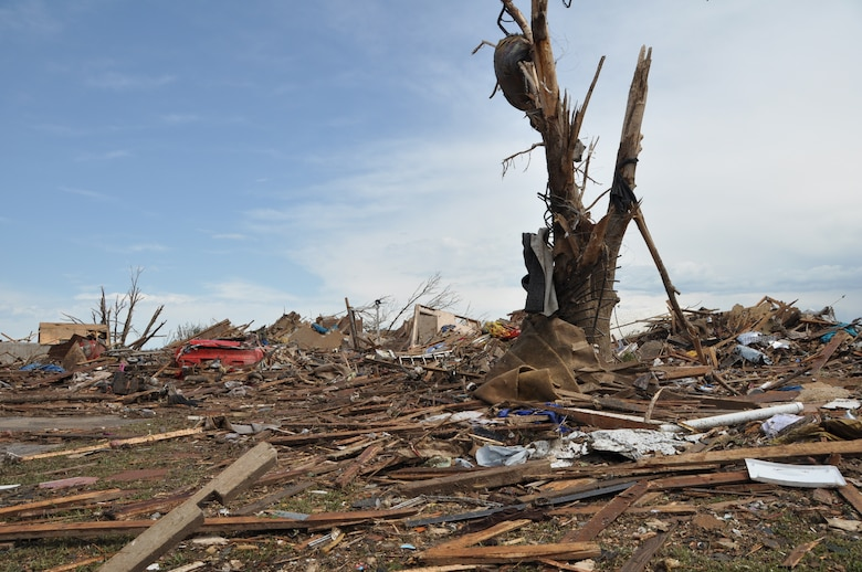 The destruction is massive as the EF-5 tornado that hit May 20, 2013 will be one of the most costly in U.S. history.  (U.S. Air Force photo by Senior Airman Mark Hybers)
