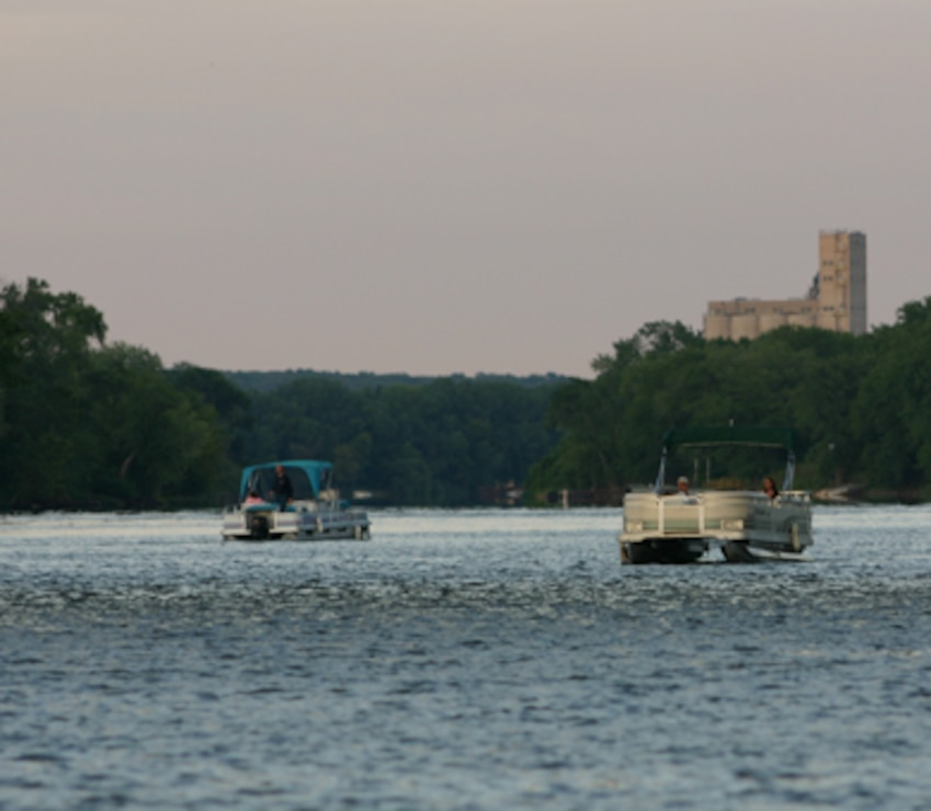 Two pontoon boats on the Illinois River