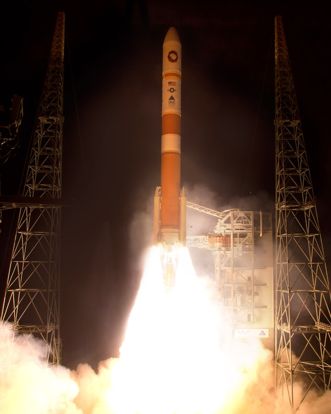 Cape Canaveral Air Force Station, Fla. (May 24, 2013) – In the second launch in just nine days for the U.S. Air Force, United Launch Alliance (ULA) successfully launched a Delta IV rocket carrying the fifth Wideband Global SATCOM (WGS-5) satellite at 8:27 p.m. EDT today from Space Launch Complex-37. Wideband Global SATCOM provides anytime, anywhere communication for the warfighter through broadcast, multicast, and point to point connections. WGS is the only military satellite communications system that can support simultaneous X and Ka band communications.    Photo by Pat Corkery, United Launch Alliance
