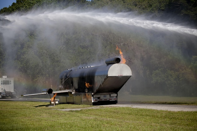 High pressure hoses extinguish flames on a mock aircraft at the beginning of Aircraft Rescue and Firefighting training. Crash Fire Rescue Marines with Marine Corps Air Station (MCAS) Beaufort Aircraft Rescue and Firefighting unit; took part in a simulated emergency aboard MCAS Beaufort on May 15; 2013.