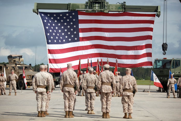 Marines stand in formation during Marine Aircraft Group 31's change of command  aboard Marine Corps Air Station Beaufort, May 20. During the ceremony Col. Michael Cederholm relinquished command of MAG-31 to Col. William Lieblein after serving as MAG-31's commanding officer for two years.