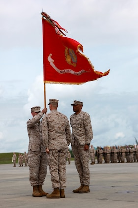 Col. Michael Cederholm passes on the colors of Marine Aircraft Group 31 to Col. William Lieblein during MAG-31's change of command ceremony aboard Marine Corps Air Station Beaufort, May 20. Cederholm served as MAG-31's commanding officer for two years during which, he commanded over 6,500 Marines and sailors and led MAG-31 to be the most combat ready Marine Aircraft Group in Marine Corps aviation.