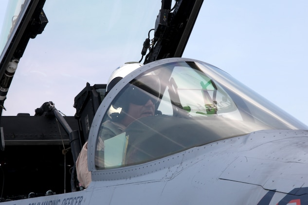 Col. Michael Cederholm, the commanding officer of Marine Aircraft Group 31, prepares an F/A-18 Hornet for takeoff prior to his last flight as the commanding officer of MAG-31 aboard the Marine Corps Air Station Beaufort flight line, May 17. Cederholm relinquished command of MAG-31 to Col. William Liebein during a change of command ceremony, May 20.