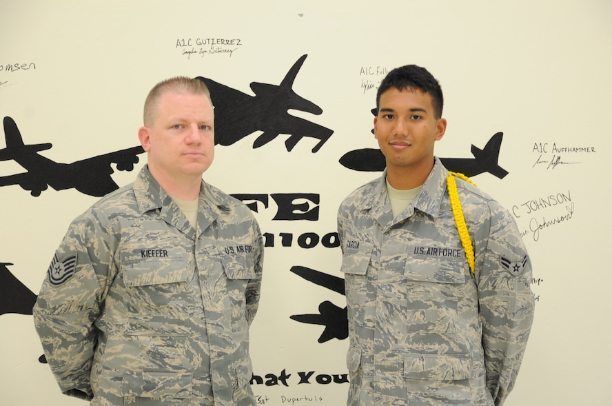 From right to left, Airman 1st Class Iokepa Garcia and one of his instructors, Tech. Sgt. Eric Kieffer stand in an aircrew classroom. Garcia earned the ACE award, which is given for maintaining a 100 percent grade average throughout each block test. (U.S. Air Force photo by Airman 1st Class Jelani Gibson)