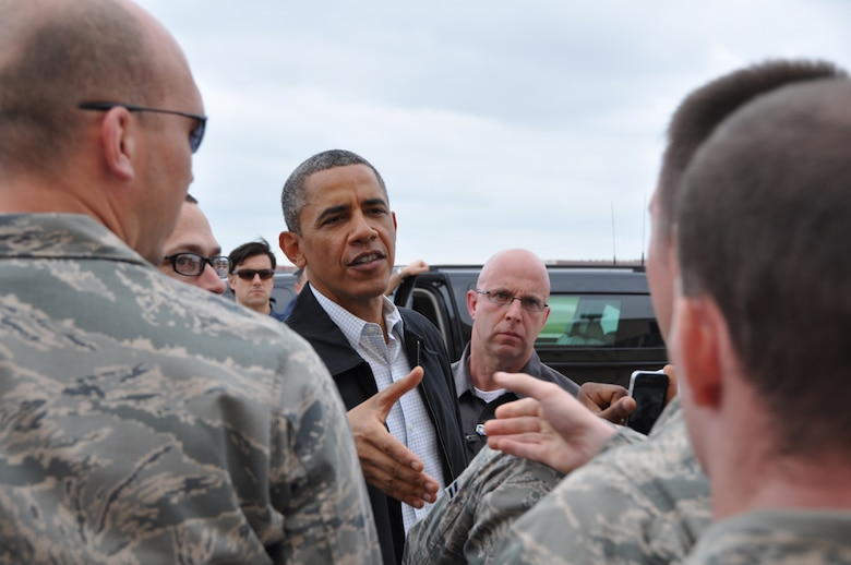 TINKER AIR FORCE BASE, Okla.--President Barack Obama greets Team Tinker Airmen affected by the EF-5 Tornado and first responders here May 26. (U.S. Air Force Photo by Maj. Jon Quinlan)