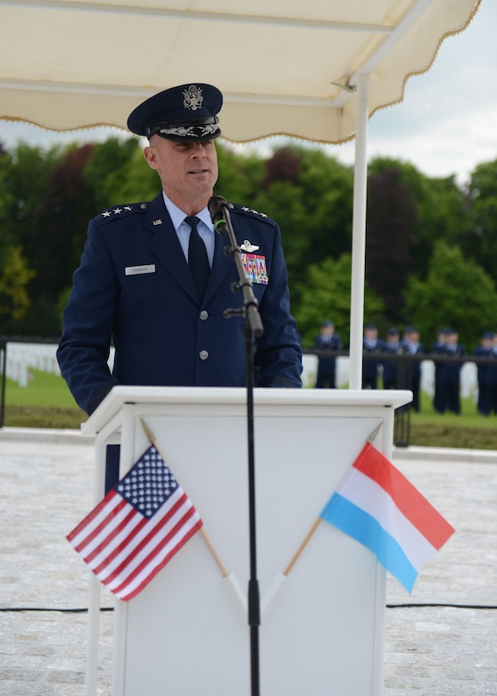 LUXEMBOURG – U.S. Air Force Lt. Gen. Craig Franklin, 3rd Air Force and 17th Expeditionary Air Force commander, speaks during a Memorial Day commemoration at the Luxembourg American Military Cemetery and Memorial May 25, 2013. Franklin thanked all who came to the ceremony for taking the time to honor fellow comrades-in-arms who will never be forgotten. (U.S. Air Force photo by Airman 1st Class Gustavo Castillo/Released)