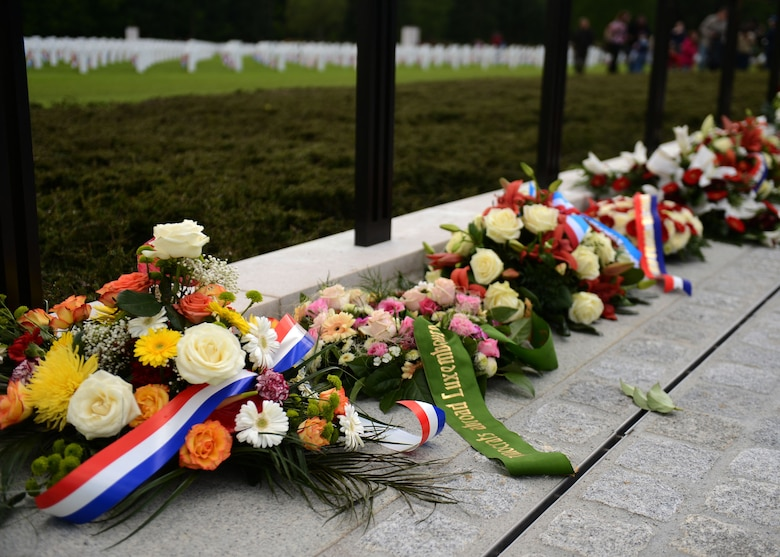 LUXEMBOURG CITY, LUXEMBOURG – Memorial wreaths sit in a line during a Memorial Day commemoration at the Luxembourg American Military Cemetery and Memorial May 25, 2013. Friends and families of loved ones laid flowers in remembrance of the soldiers who died during World War II. (U.S. Air Force photo by Airman 1st Class Gustavo Castillo/Released)
