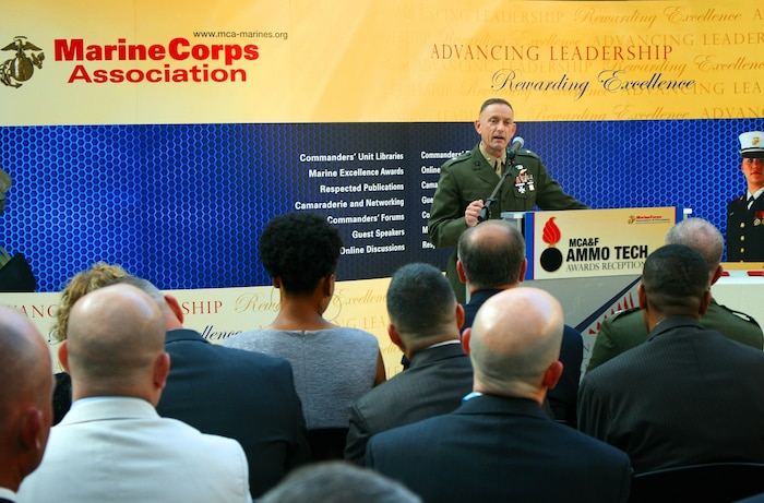 Brig. Gen. Frank Kelley, commander of Marine Corps Systems Command, speaks to more than 200 attendees at the 2012 Ammunition Awards Program Reception May 22 at the National Museum of the Marine Corps in Triangle, Va. MCSC's Program Management office for Ammunition co-hosted the event with the Marine Corps Association and Foundation, to recognize four Marines for their outstanding performance in the ammunition field.