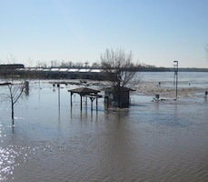 Flood waters overtopped the lock gates at Lock and Dam 20 in Canton, Mo. in April 2013.