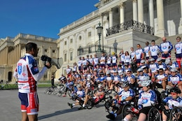 Lt. Gen. Thomas Bostick, commander of the U.S. Army Corps of Engineers, addresses wounded veterans and servicemembers at the U.S. Capitol Building before the 2013 Ride 2 Recovery Memorial Challenge.  (Photo by Lt. Col. Marc Hoffmeister, U.S. Army Corps of Engineers)