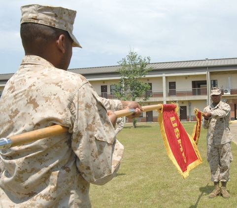 Marines practice to achieve precision execution of guidon commands for formations and ceremonies at the Corporals' Course held aboard Marine Corps Logistics Base Albany, May 12-24.
