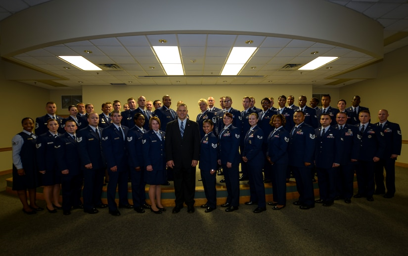 Joint Base Charleston held its semi-annual Community College of the Air Force Graduation ceremony May 22, 2013, at the JB Charleston - Air Base Theater, S.C. The graduates, 110 in total, were honored during the ceremony. The graduation was highlighted by retired Chief Master Sgt. James Roy, 16th Chief Master Sgt. of the Air Force, who was the guest speaker. (U.S. Air Force photo/ Staff Sgt. Rasheen Douglas)
