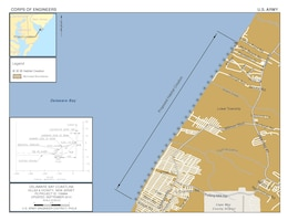 The plan for the purpose of ecosystem restoration at Villas and vicinity is an 80-foot wide berm over a project length of 29,000 feet. The plan entails a one-time placement of sand for horseshoe crab and shorebird habitat.