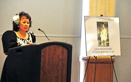 Nita Miller speaks about her Family and life at Fort Riley during the Asian American and Pacific Islanders Observance May 15 at Riley's Conference Center. Miller has called Fort Riley home since 1955, and has a rich Asian-Pacific American heritage.  Photo by: Calun Reece, POST.