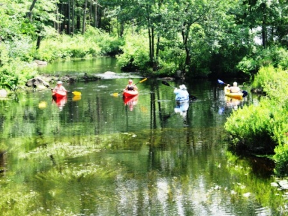 Kayakers enjoy paddling along the east branch of the Tully River, Tully Lake, Royalston, Mass. (U.S. Army Corps of Engineers photo)