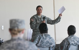 During a Sept. 27 Fort Riley Female Network meeting, Maj. Tammy Fanniel, human resource officer, 4th IBCT, talks about how she leaned on her professional colleagues, friends and networking group to cope with stress and rebuild her life.