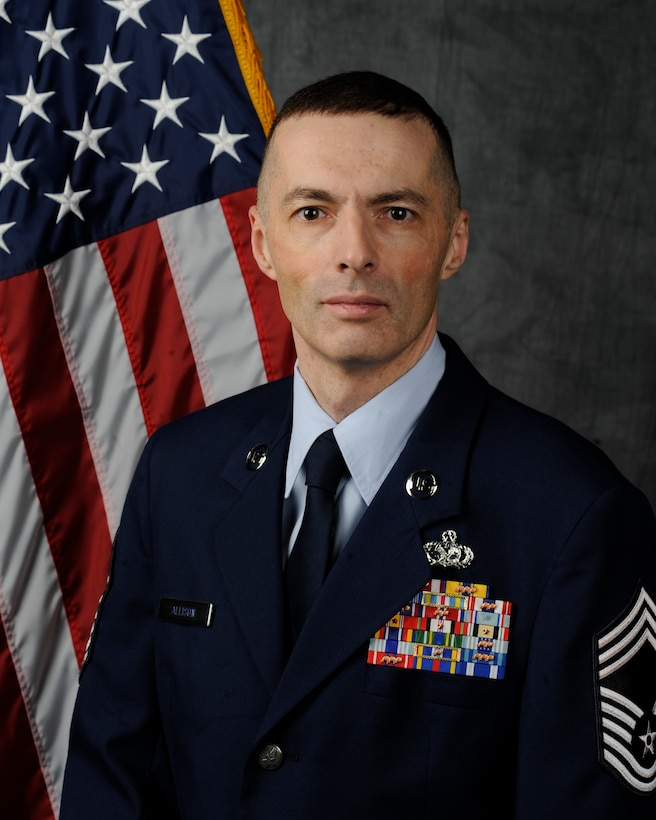 Chief Master Sgt. Stuart Allison is the command chief of the 509th Mission Support Group at Whiteman Air Force Base, Mo. He is currently deployed with the 407th Air Expeditionary Group as its superintendent. (U.S. Air Force photo by Airman 1st Class Keenan Berry/Released)