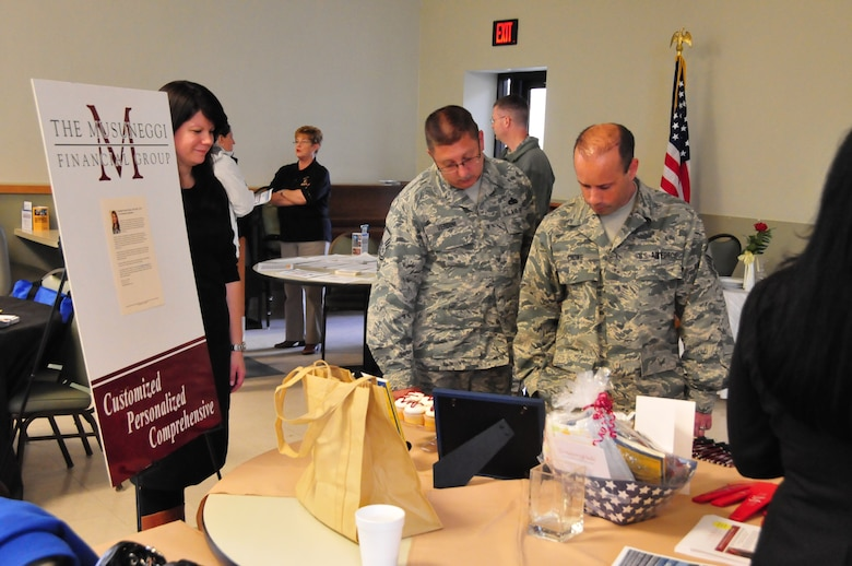 The annual Open Season Health Care Benefits Fair was held at the 171st Air Refueling Wing in the dining facility on November 5, 2013.  Eight health care vendors and two financial planning vendors were present at the fair, giving service members an opportunity to explore and discuss benefits available to them. (U.S. Air National Guard Photo by Airman Allyson L. Manners/Released)