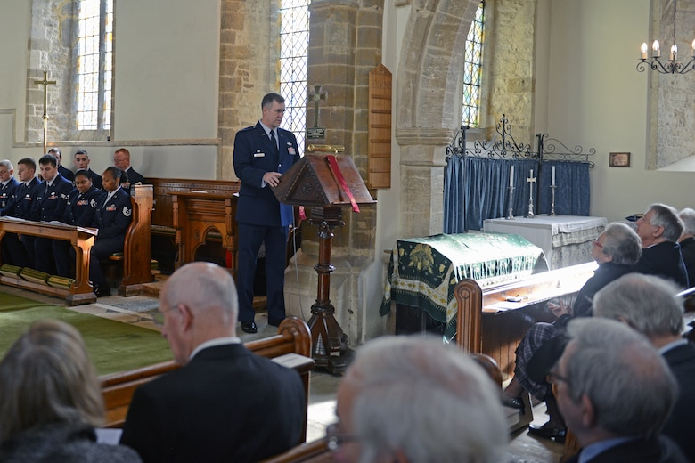 HELMDON, United Kingdom – Col. Charles Hamilton, 422nd Air Base Group commander, speaks during a memorial service for the crew of the Sharon Belle, who lost their lives in a crashed in at the Astwell Castle Farms in 1943. The village and 422nd Air Base Group held a ceremony in honor of the 327th Bombardment Squadron, VIII Bomber Command, Airmen killed Nov. 30, 1943, when they left RAF Poddington on a bombing mission to Germany, and their plane crashed at Astwell Castle Farms. (U.S. Air Force photo by Tech. Sgt. Chrissy Best)