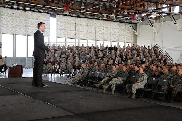 Acting Secretary of the Air Force Eric Fanning addresses the Team Pete audience during an all call Nov. 1, at Peterson Air Force Base, Colo. Fanning discussed several topics during the all call, including sequestration, the future budget and sexual assault prevention.