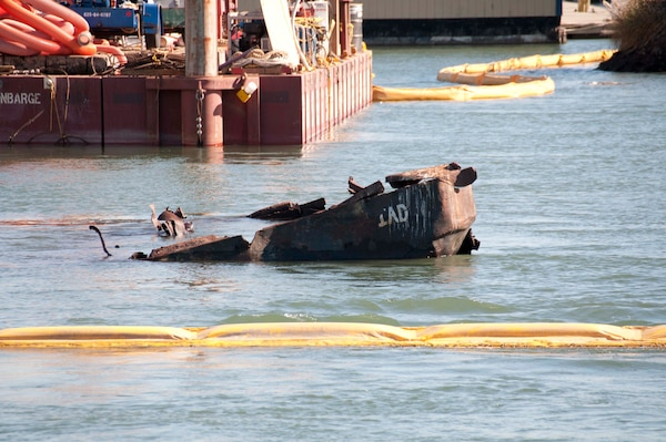 EPA raises sunken tugboat from the floor of the Oakland Estuary Nov. 4