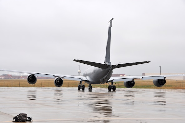 A 507th KC-135 Stratotanker prepares to depart in the rain.  The tanker is on its way to conduct aerial refueling operations in support of an ongoing exercise.  Pilots and boom operators from the 465th Air Refueling Squadron as well as maintenance personnel from the 507th Air Refueling Wing from Tinker Air Force Base Okla. have been launching and recovering aircraft for several days in support of the joint service exercise.  (U.S. Air Force photo/Senior Airman Mark Hybers)