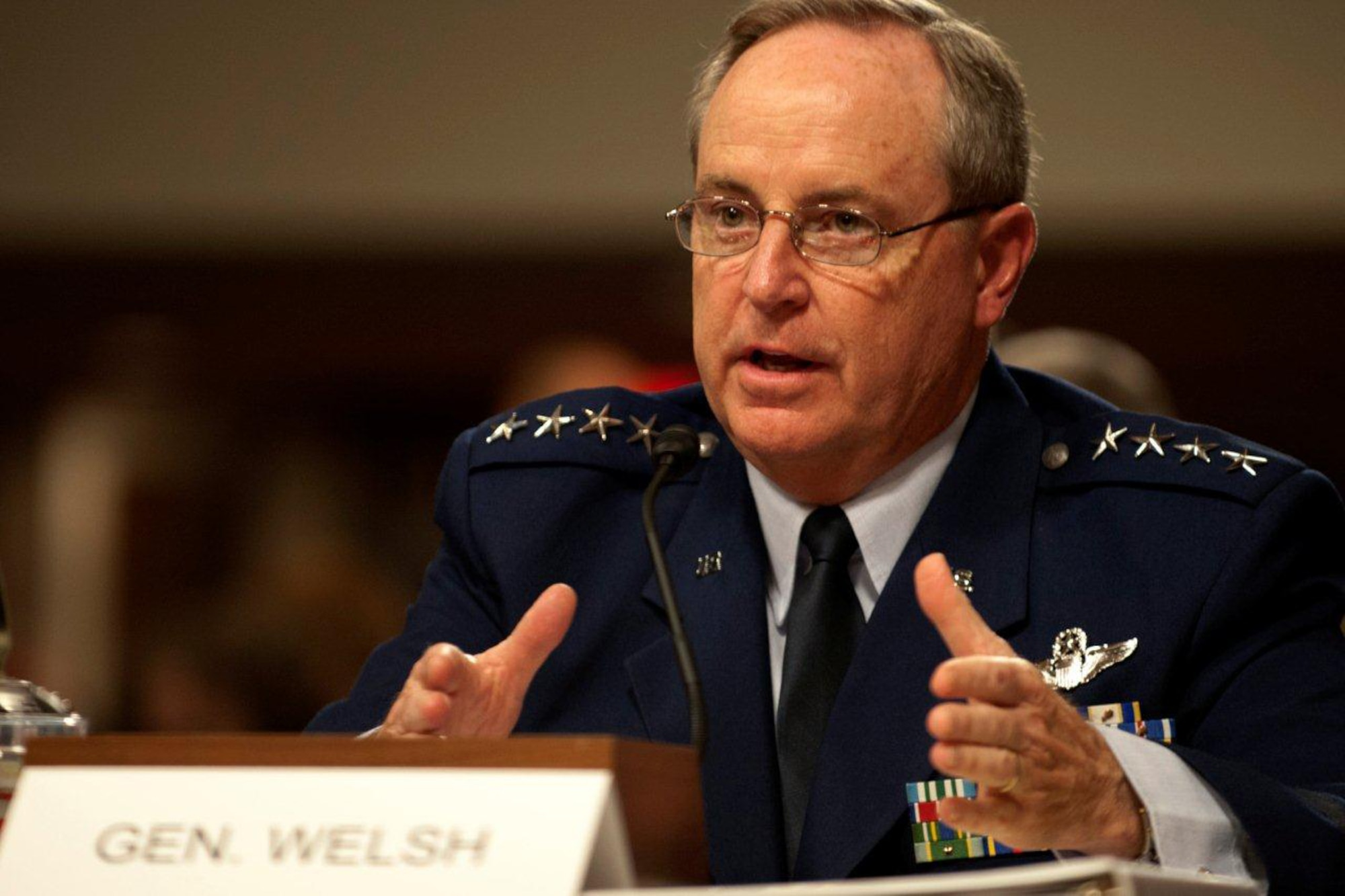 Gen. Mark A. Welsh III, Air Force chief of staff, gives opening remarks on the impacts of sequestration on the Department of Defense during a Senate Armed Services Committee hearing, Nov. 7, 2013, Washington, D.C.  Among other concerns, Welsh emphasized the danger of having to choose between a ready force today, or a modern force tomorrow.