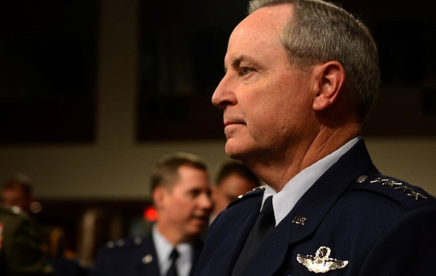 Gen. Mark A. Welsh III, Air Force chief of staff, prepares for the Senate Armed Services Committee's hearing on the impacts of sequestration Nov. 7, 2013, Washington, D.C. Among other concerns, Welsh emphasized the danger of having to choose between a ready force today, or a modern force tomorrow.