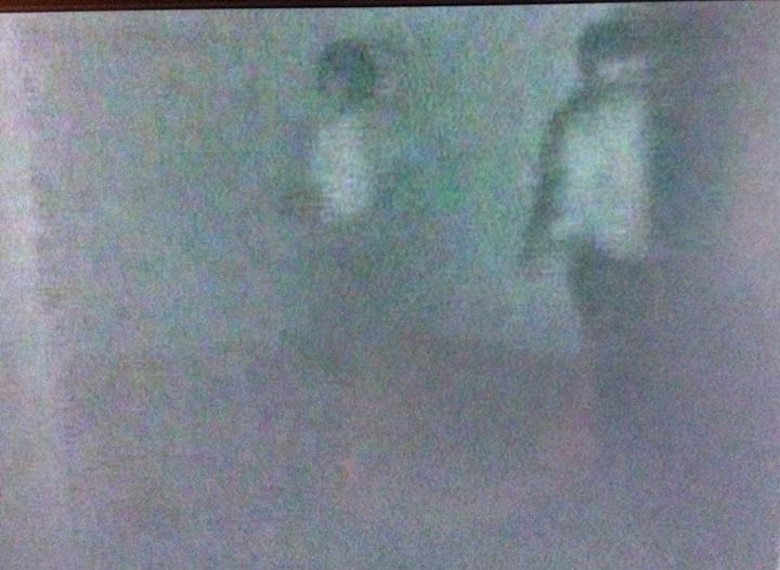 These two appartitions were captured recently, on March Air Reserve Base, with an infra-red video camera, during the early-morning hours, in a dark room with no lights being used. Every person on the investigation team is accounted for in the video and none of them saw anything when they were in the room. When the camera was panning, the images were captured, but disappeared when the pan was reversed. (Courtesy photo/Mathieu Beaulieu)
