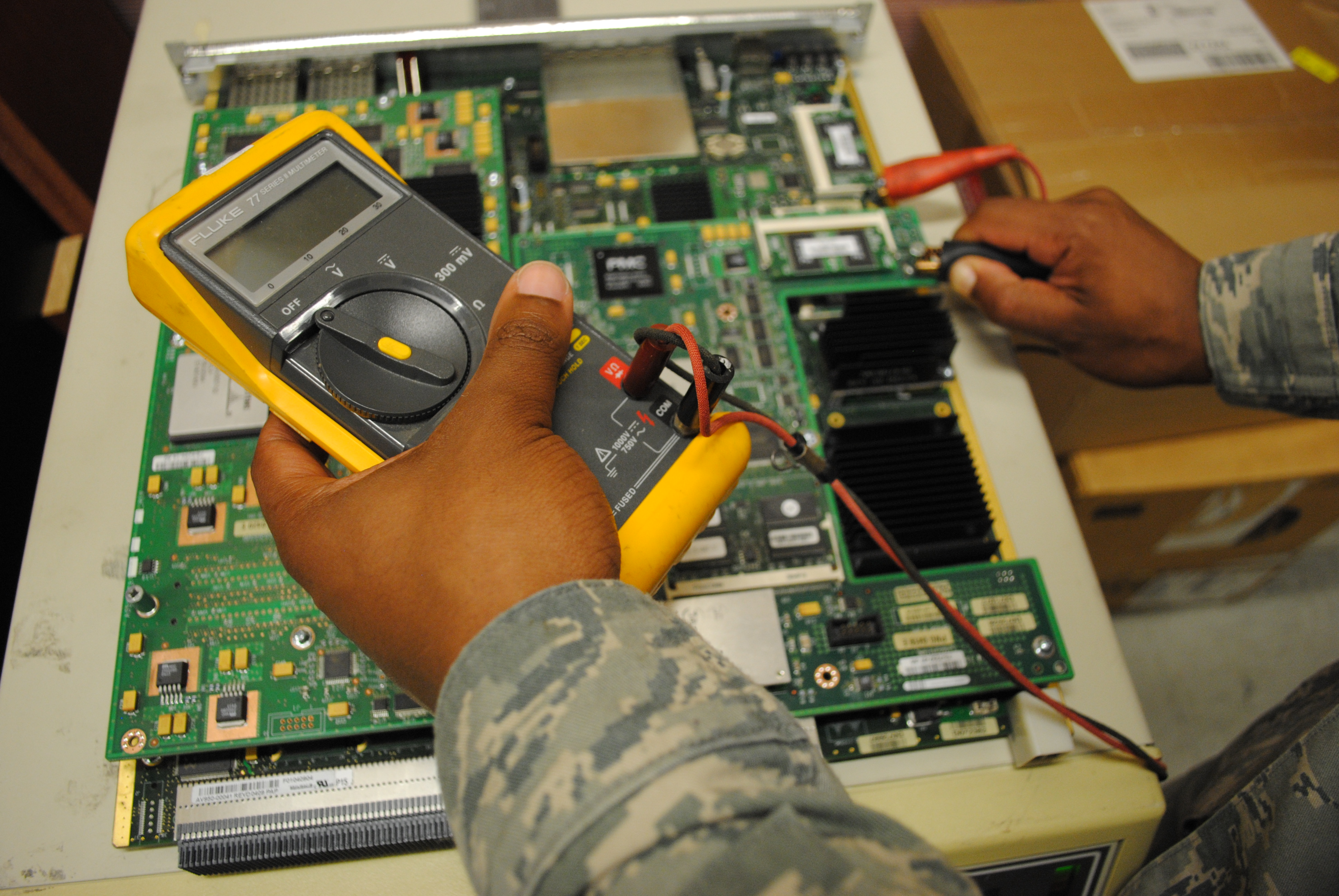 Air Force Medical Service News Photos Computer Technology Circuit Board With Multiple Electronic Components Airman 1st Class Xavier Love 319th Communications Squadron Uses A Multi Meter To