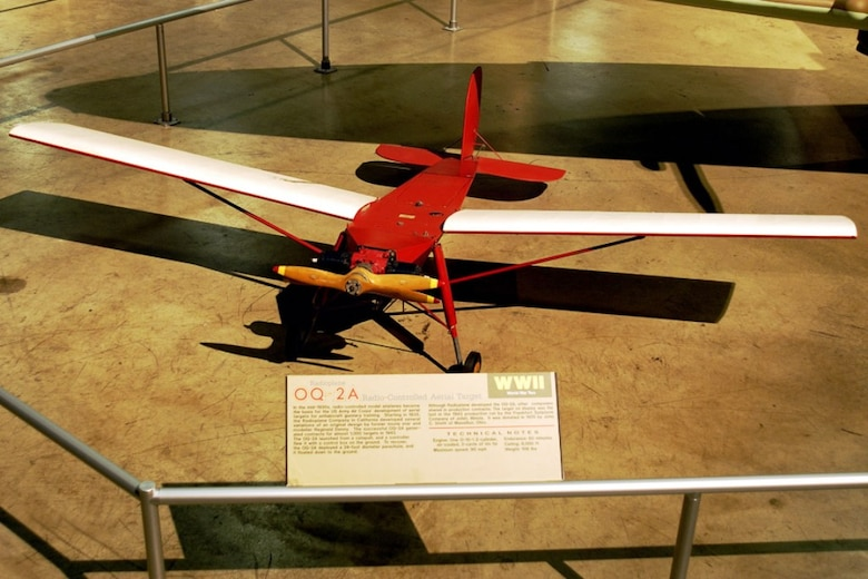 The QQ-2A Radioplane is on display in the World War II Gallery at the National Museum of the U.S. Air Force in Dayton, Ohio.  In the mid-1930s, radio-controlled model airplanes became the basis for the U.S. Army Air Corps' development of the aerial targets for antiaircraft gunnery training. (Photo courtesy of U.S. Air Force)
