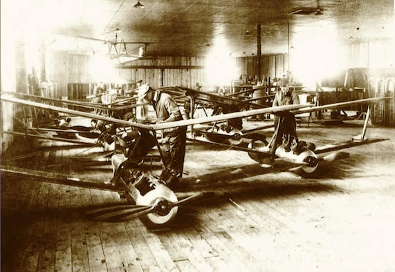 "Workers assemble the ""Liberty Eagle"" aircraft at a factory in 1918."