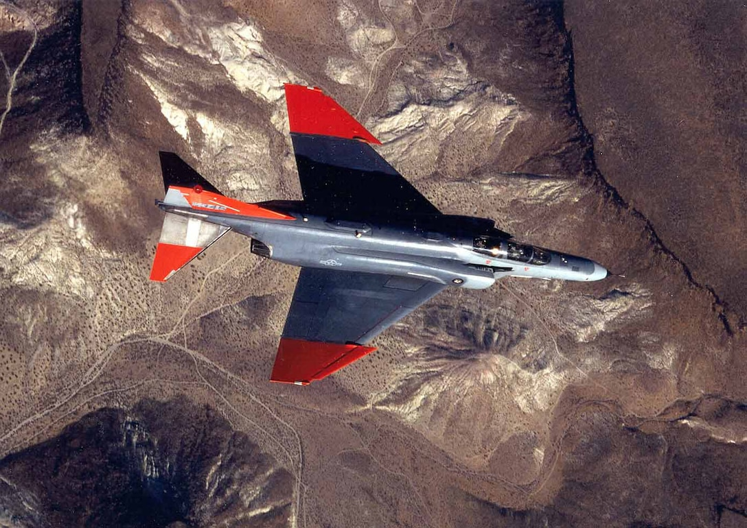 A QF-4 Aerial Target is in flight as it is tracked by a missile at Tyndall AFB, Fla. The aerial targets are used to test weapons. (Courtesy photo)