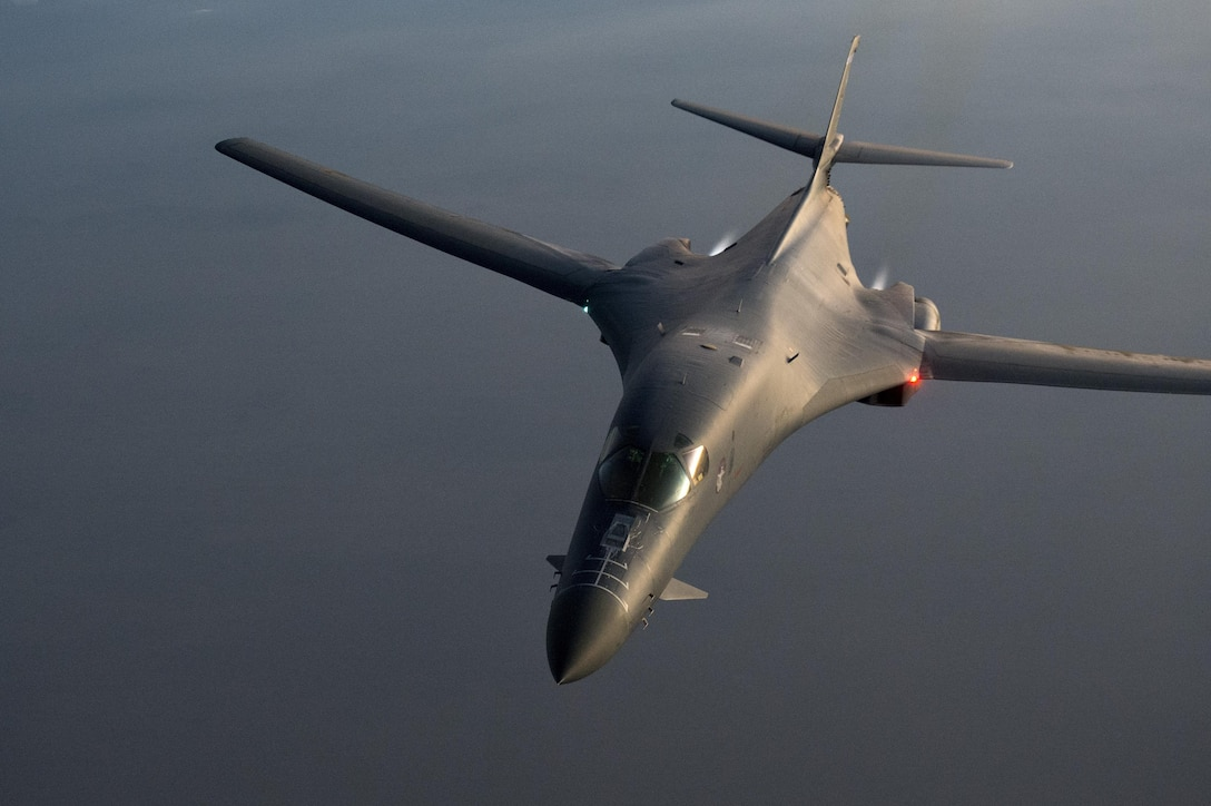 Lt. Col. Sloan Hollis maneuvers a B-1B Lancer bomber over Southern Afghanistan, Nov. 6, 2013. Hollis is a 379th Expeditionary Operations Support Squadron commander and pilot. (U.S. Air Force photo/Master Sgt. Ben Bloker)