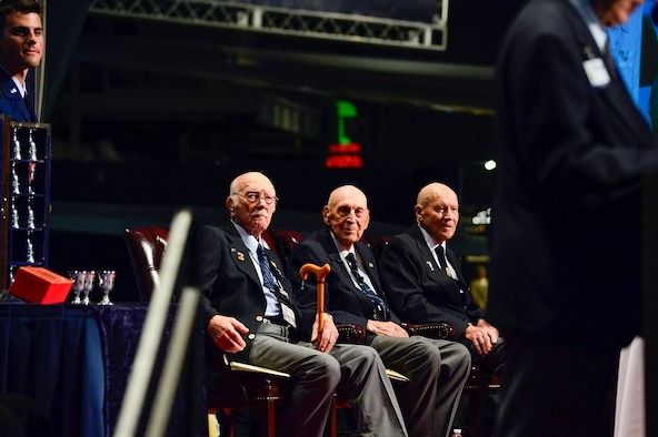"Retired Col. Carroll ""C.V"" Glines took the podium before The Doolittle Tokyo Raiders shared their last and final toast at the National Museum of the U.S. Air Force Nov. 09, 2013 in Dayton, Ohio. Glines is the historian for the Doolittle Raiders and a distinguished author."