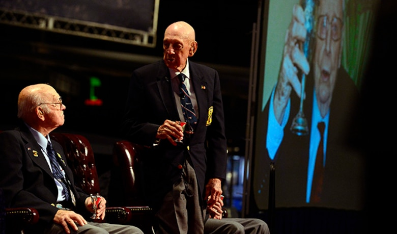 "Retired Lt. Col. Richard ""Dick"" E. Cole give the last and final toast at the National Museum of the U.S. Air Force Nov. 09, 2013 in Dayton, Ohio. Cole was the copilot of Aircraft No. 1."