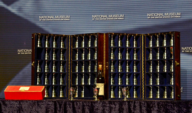 The 80 silver goblets in the ceremony were presented to the Raiders in 1959 by the city of Tucson, Ariz. The Raiders' names are engraved twice, the second upside-down. During the ceremony, white-gloved cadets pour cognac into the participants' goblets. Those of the deceased are turned upside-down.