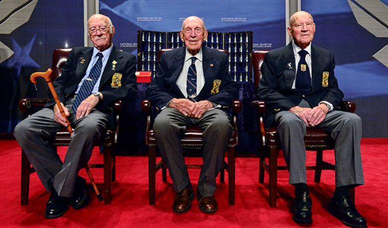 The Doolittle Tokyo Raiders after sharing their last and final toast at the National Museum of the U.S. Air Force Nov. 09, 2013 in Dayton, Ohio.
