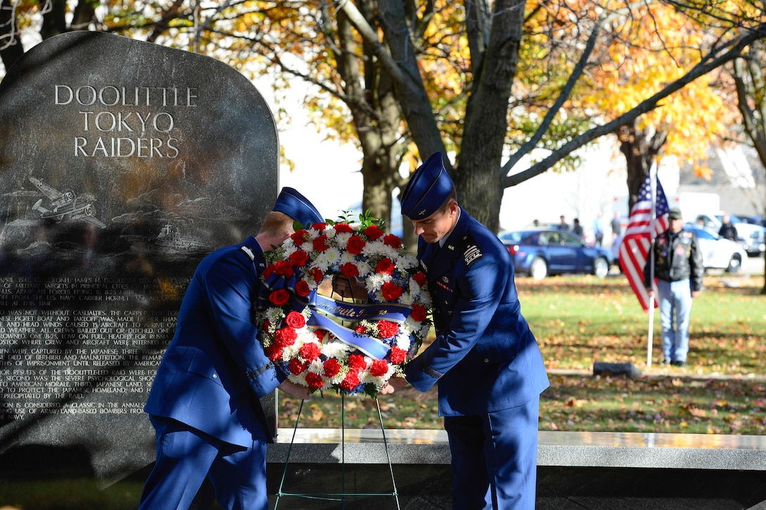 Air Force Academy cadets lay a wreath during the Doolittle Tokyo Raiders memorial at the National Museum of the U.S. Air Force Nov. 09, 2013 in Dayton, Ohio. The remaining Raiders paid tribute to their memorial and commemorated their historic mission and fallen wingmen during their final toast ceremony. (U.S. Air Force photo/Desiree N. Palacios)