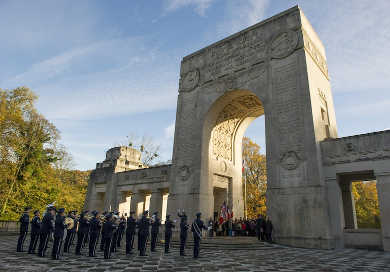 The U.S. Air Forces in Europe Band plays during a Veteran's Day Ceremony at the Lafayette Escadrille memorial in Marnes-la-Coquette, France Nov. 11, 2013. Lafayette Escadrille was a French Air Service squadron during World War I comprised largely of volunteer American fighter pilots.