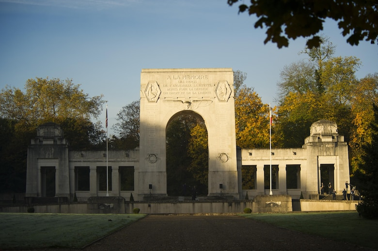 A Veterans Day Ceremony was held at the Lafayette Escadrille memorial in Marnes-la-Coquette, France, Nov. 11, 2013. Lafayette Escadrille was a French Air Service squadron during World War I comprised largely of volunteer American fighter pilots.