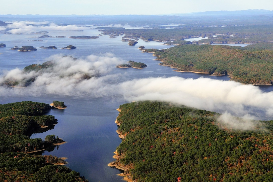 Lake Ouachita aerial photograph taken by photographer, Dan Valovich.