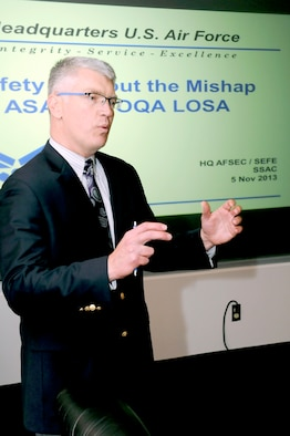 Kevin Tibbs, Military Flight Operations Quality Assurance (MFOQA) and Aviation Safety Action Program (ASAP) manager, provides program updates during the Senior Safety Advisory Council meeting held Nov. 5 - 6 at the Air Force Safety Center, Kirtland Air Force Base, N.M.  Additional Council discussion topics covered ground, the Air Force Safety Automated System (AFSAS), policies, manpower, human factors, training, safety investigation boards and the safeguard of privileged information. (U.S. Air Force photo by Airman 1st Class Aaron Brown)