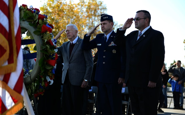 More than 100 service members, veterans, family members and supporters came out for the wreath laying ceremony at the Air Force Memorial on Nov 11, 2013.