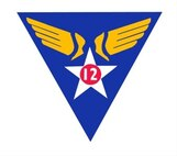 12th Air Force (Air Forces Southern) Shoulder Sleeve Insignia and Emblems.  12th Air Force Emblem December 1943 - May 1958.